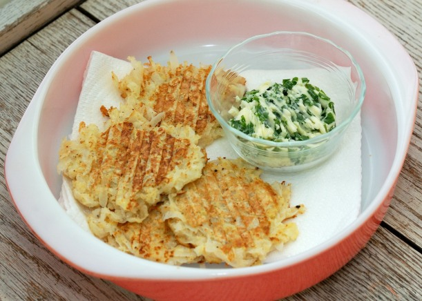 Daikon Radish Cakes with Chive Butter